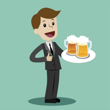 Businessman or manager hold glasses with beer after work day. Vector, illustration, flat