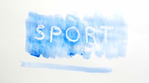 Sport Textinschrift Aquarell Künstler malt Schandfleck isoliert auf weißem Hintergrund Kunst