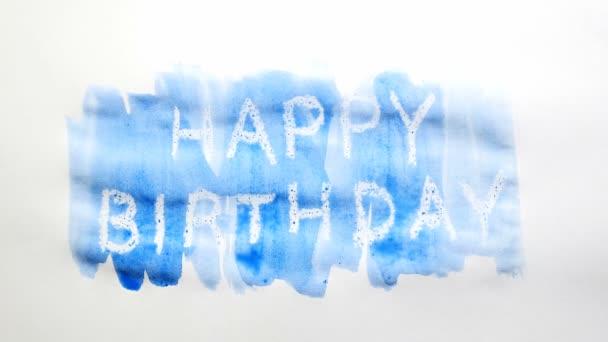 Happy Birthday Text Inschrift Aquarell Künstler malt Schandfleck isoliert auf weißem Hintergrund Kunst