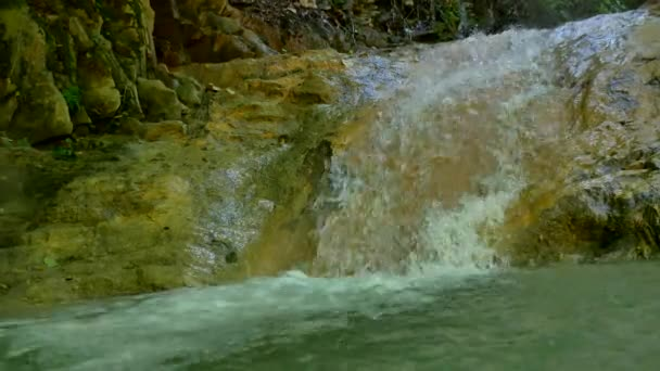 Large fragments stones nature of rock in water of mountain water lake
