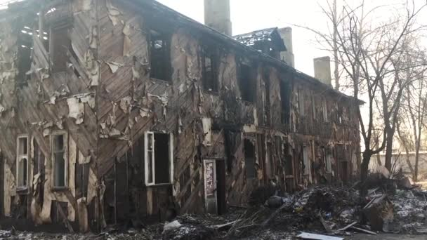 Interior Of Burned House With White Window And Lots Of Garbage Old