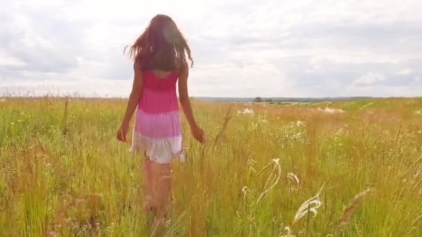 girl child goes lifestyle on nature by field grass summer sunlight slow motion video steadicam. childhood concept video girl kid in nature outdoors
