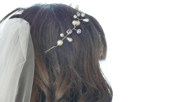 Schone Dekoration Auf Dem Kopf Der Braut Haar Und Schleier Hochzeit