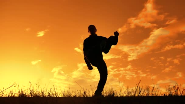 silueta muže, vtipné, tanec v západu slunce přírody sunlight. legrační člověk smích taneční zábava životního stylu crazy cítí radost tanec