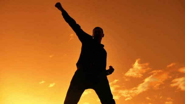 c58ee3f9f Silueta de hombre de negocios celebrando éxito felicidad en la cima de una  montaña Sunset noche cielo fondo