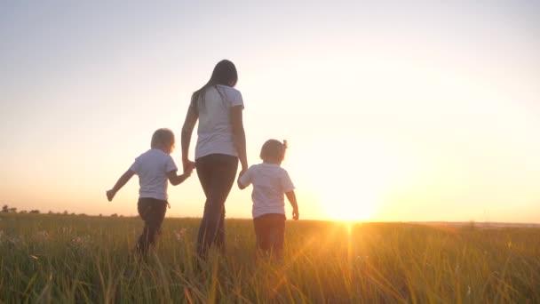 glücklich Familie Teamwork Bruder und Schwester Mutter halten Händchen Spaziergang im Park bei Sonnenuntergang auf dem Gras. Mutter und Kinder Zeitlupe Video kleine Mädchen und Jungen Kinder zu Fuß in Lebensstil Natur im Freien