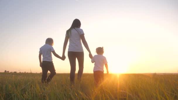 glücklich Familie Teamwork Bruder und Schwester Mutter halten Händchen Spaziergang im Park bei Sonnenuntergang auf dem Gras. Mutter und Kinder Zeitlupe Video kleine Mädchen und Jungen Kinder zu Fuß in der Natur Lebensstil im Freien
