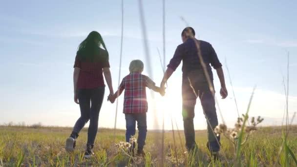 šťastný rodinný otec syn a máma jít zpomalit video koncept. šťastný týmová práce táta muž maminka dívka a syn chlapec dítě držet ruce chůze jít na poli životní styl v přírodě. šťastné rodinné bezstarostné dětství