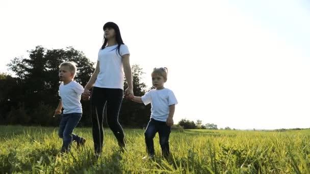 šťastná rodinná týmová práce matka, mladší bratr a sestra procházka v parku příroda drží ruce zpomalené video koncept. Máma, děti chlapec a dívka dcera a životní styl syn držet ruce jít na zelené trávě