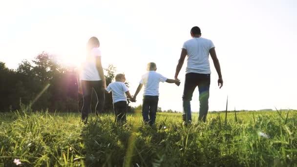 glücklich Familie Teamwork Papa Mutter, kleiner Bruder und Schwester gehen in den Park Natur Hand in Hand Zeitlupe Video-Konzept. Vater Mutter, Kinder Junge und Mädchen Tochter und Sohn halten Hände gehen auf grün