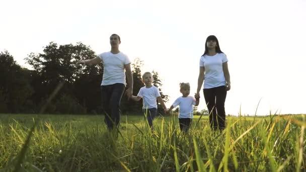 glücklich Familie Teamwork Papa Mutter, kleiner Bruder und Schwester gehen in den Park Natur Hand in Hand Zeitlupe Video-Konzept. Vater Mutter, Kinder Junge Lebensstil und Mädchen Tochter und Sohn halten die Hände gehen weiter