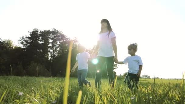 šťastná rodinná týmová práce matka, mladší bratr a sestra procházka v parku příroda drží ruce zpomalené video koncept. Máma, děti chlapec a dívka dcera a syn držet životní styl ruce jít na zelené trávě