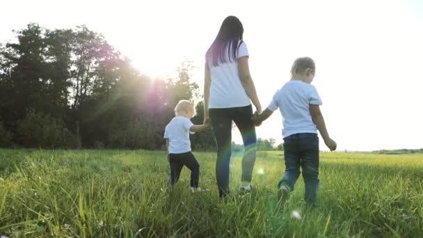 šťastná rodinná týmová práce matka, mladší bratr a sestra procházka v parku příroda drží ruce zpomalené video koncept. Máma, děti chlapec a dívka dcera a syn držet ruce jít na zelený životní styl trávy