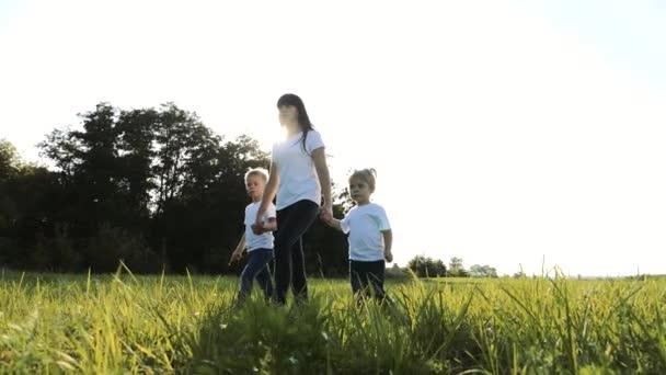 šťastná rodinná týmová práce matka, mladší bratr a sestra procházka v parku příroda drží ruce zpomalené video koncept. Máma, děti chlapec a dívka dcera a syn životní styl držet ruce jít na zelené trávě