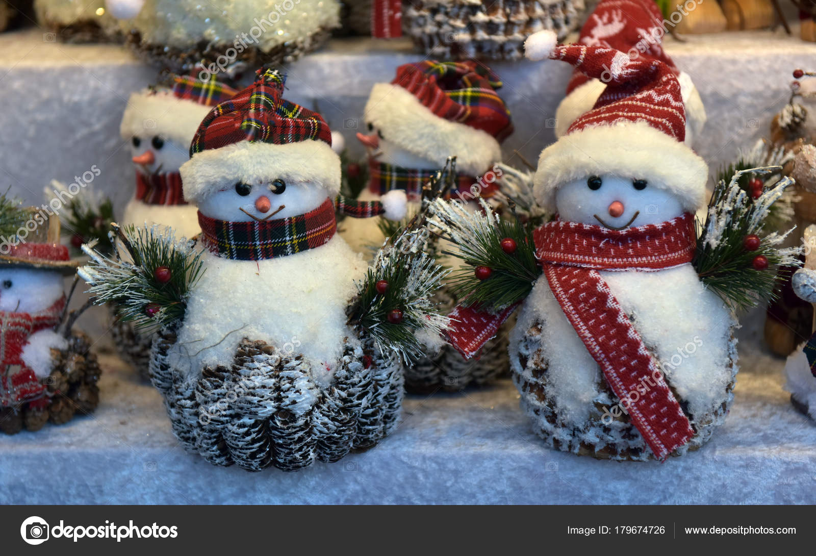 Snowmen At Christmas.Souvenir Toys Snowmen At The Christmas Fair Stock Photo
