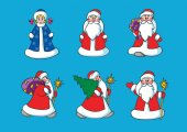 Santa Claus and snow girl. New Year characters. Christmas characters.