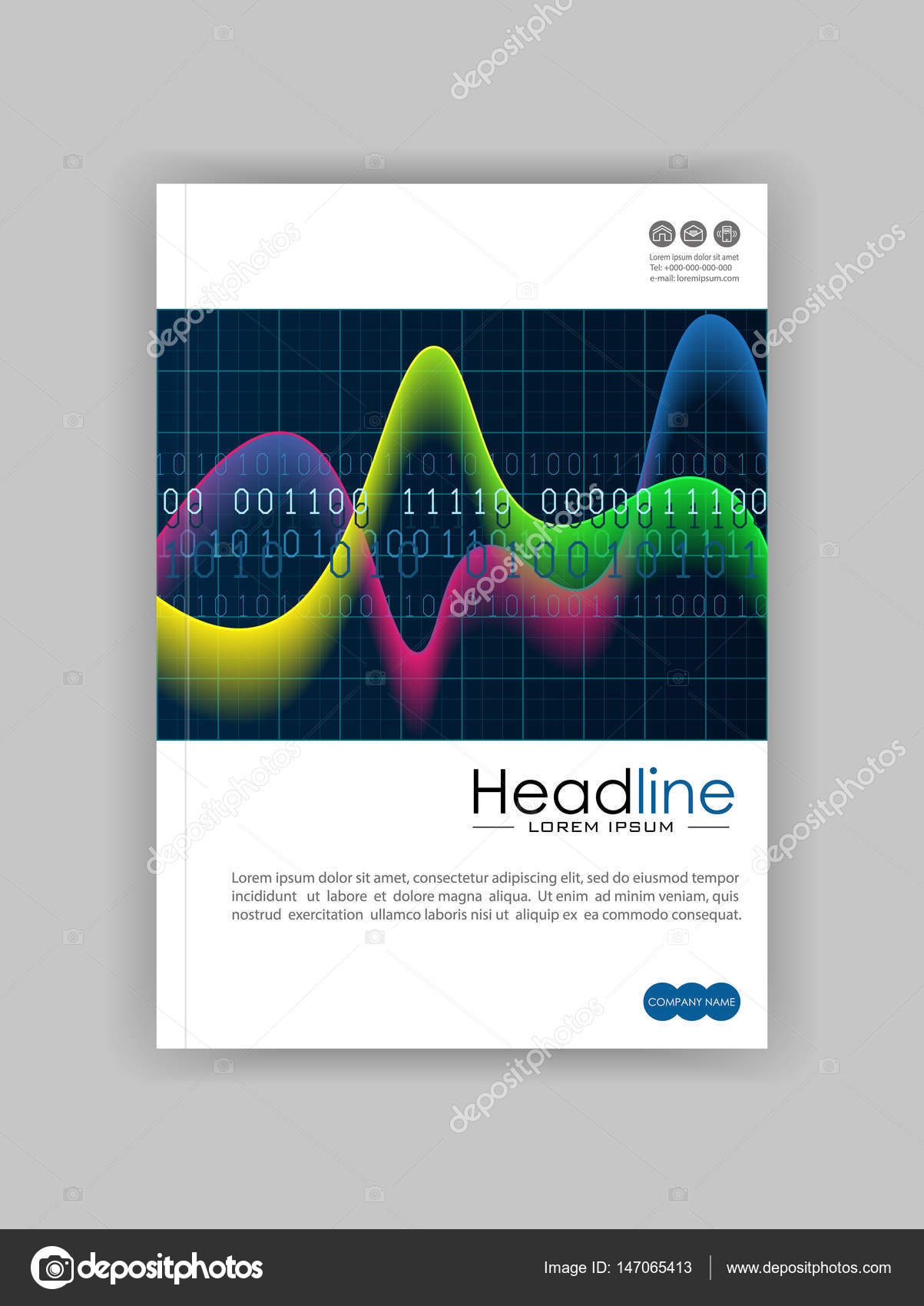 Diagram book cover design with colourful waves and numbers stock a4 glowing diagram book cover design with colourful waves and numbers on black background good for annual report conference journal book banner flyer ccuart Gallery