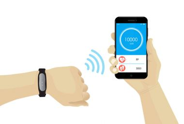 Fitness bracelet on hand with wifi smartphone infographic