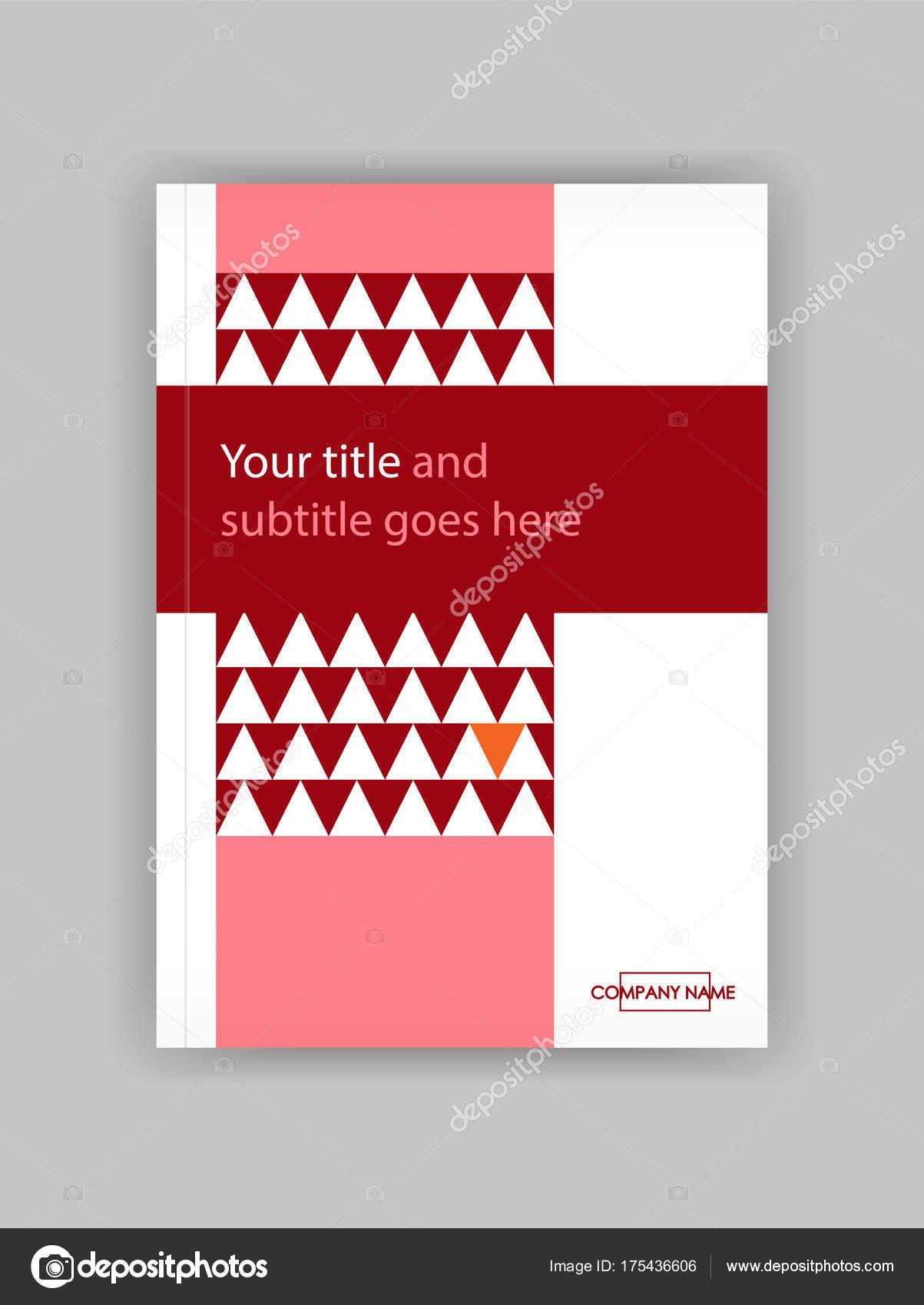 Jahresbericht mit roten geometrischen Figuren, Dreiecke. Buch-cover ...