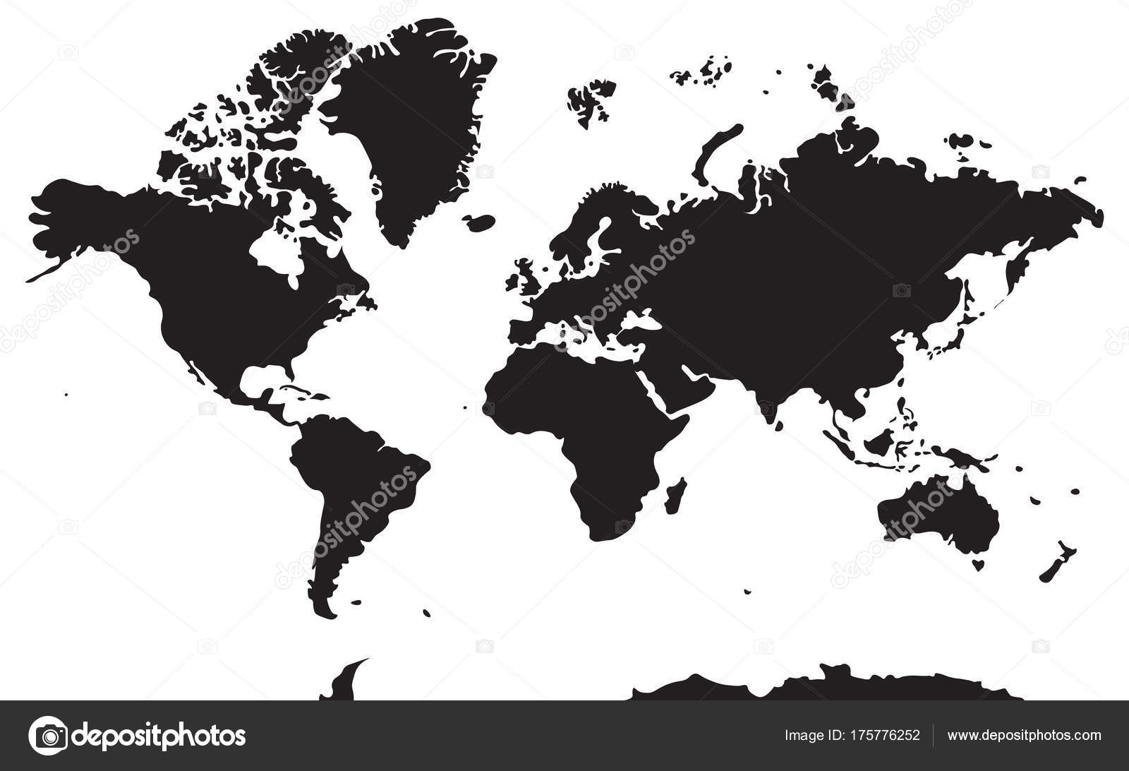 Carta Geografica Di Bianco E Nero Continenti Asia Europa Nort