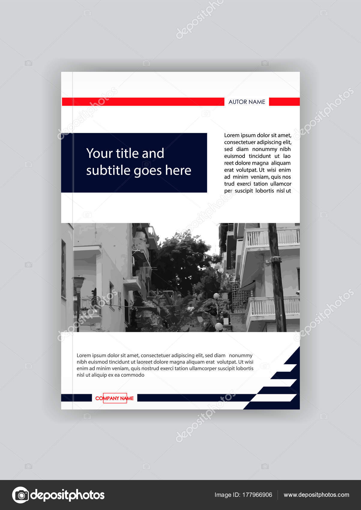 Modern Blue Red Cover Design Booklet Template Book Magazine