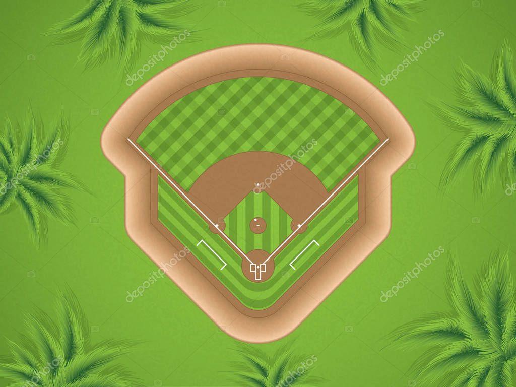 Vector illustration of a baseball field