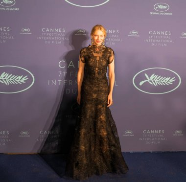 CANNES, FRANCE - MAY 08, 2018: Jury president Cate Blanchett arrives at the Gala dinner during the 71st annual Cannes Film Festival