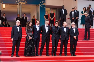CANNES, FRANCE - MAY 10, 2018: Denis Podalydes, Vincent Lacoste, Christophe Honore, Pierre Deladonchamps and Adele Wismes attend screening of 'Sorry Angel (Plaire, Aimer Et Courir Vite)' during the 71st annual Cannes Film Festival