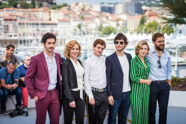 CANNES, FRANCE - MAY 11, 2018: Chino Darin, Cecilia Roth, Lorenzo Ferro, Luis Ortega, Mercedes Moran and Peter Lanzani attend the 'El Angel' Photocall during the 71st annual Cannes Film Festival