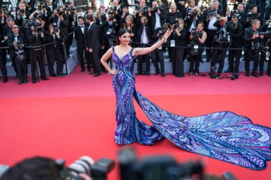CANNES, FRANCE - MAY 12, 2018: Aishwarya Rai attending screening of 'Girls Of The Sun (Les Filles Du Soleil)' during the 71st annual Cannes Film Festival