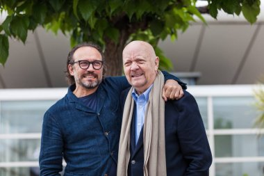 CANNES, FRANCE - MAY 14, 2018: Director Jean-Paul Rappeneau and actor Vincent Perez attending photocall for 'Cyrano De Bergerac' during the 71st annual Cannes Film Festival