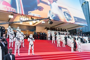 CANNES, FRANCE - MAY 15,  2018: red carpet stairs before screening of  'Solo: A Star Wars Story' during the 71st annual Cannes Film Festival