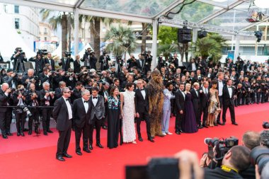 CANNES, FRANCE - MAY 15,  2018: Cast and crew attend the screening of 'Solo: A Star Wars Story' during the 71st annual Cannes Film Festival at Palais des Festivals