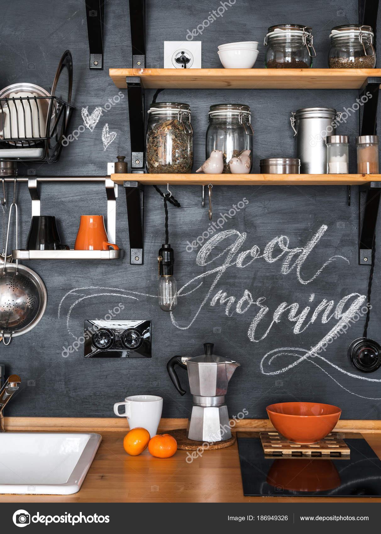 Diseño de cocina en loft y estilo rústico. \