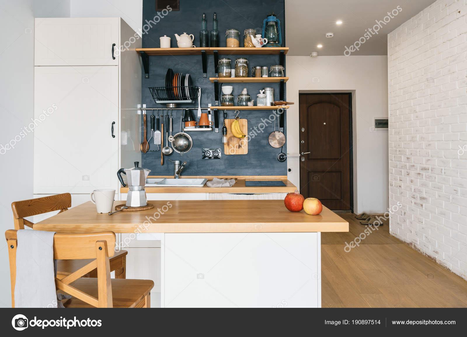 Design Cozinha Moderna Casa S T O Estilo R Stico Parede Preta Com