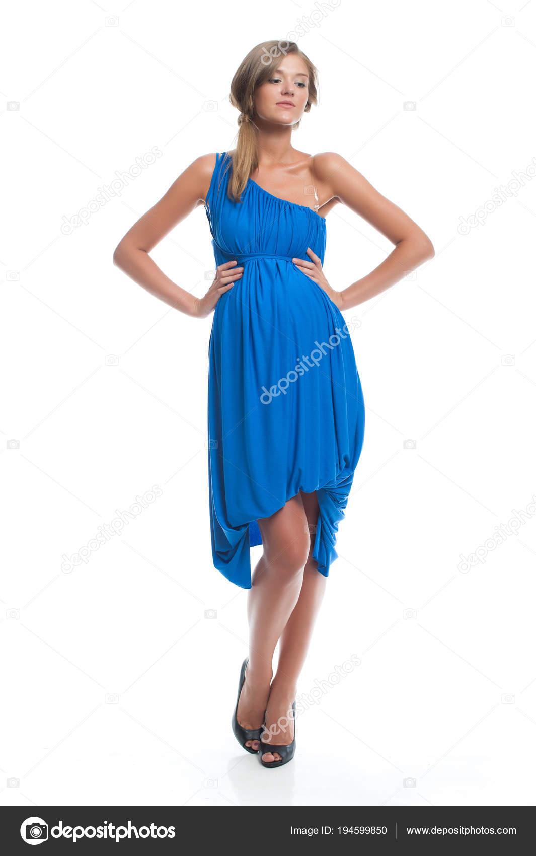 Modelos de vestidos azul con blanco
