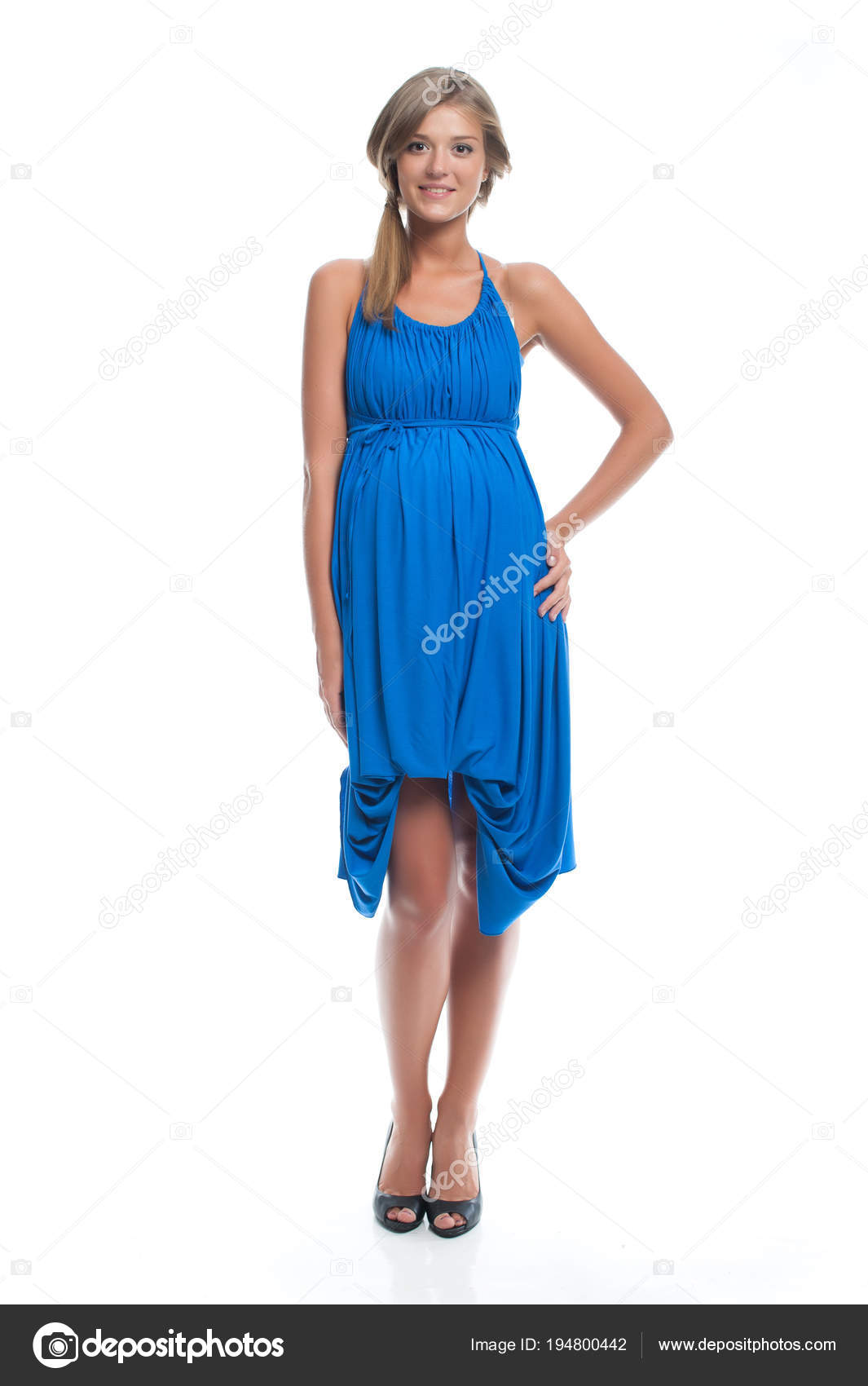 1b264e1d9 Modelo Embarazada Vestido Azul Para Embarazo Ropa Para Embarazadas — Foto  de Stock