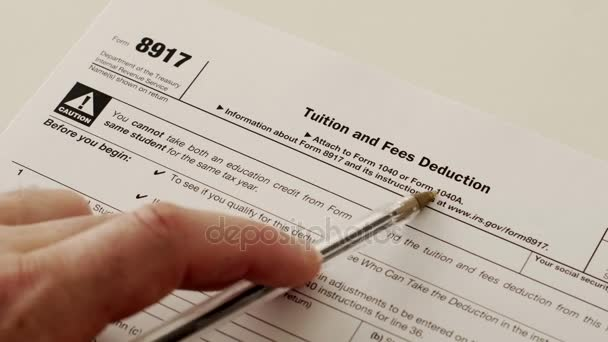 Irs Form 8917 Tuition Fees Deduction Stock Video Cactii 155319418