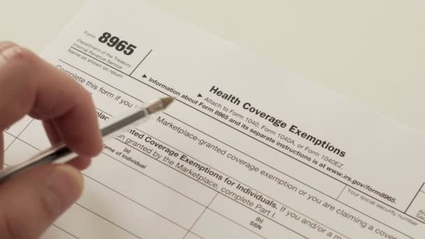 Irs Form 8965 Health Coverage Exemptions Stock Video Cactii
