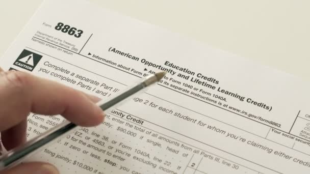 Irs Form 8863 Education Credits Stock Video Cactii 156308920