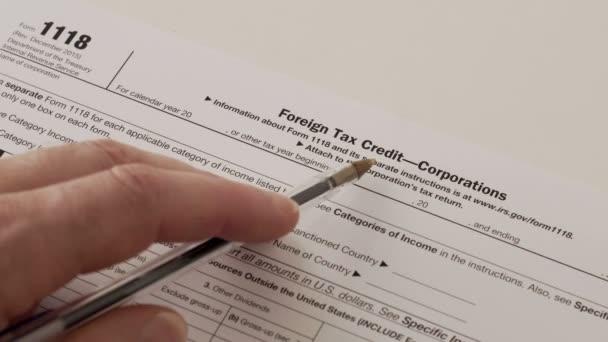 IRS Form 1118 vállalati külföldi adójóváírás