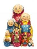 Russian wooden ten matrioshkas set with matte paint isolated