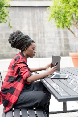 woman using several devices