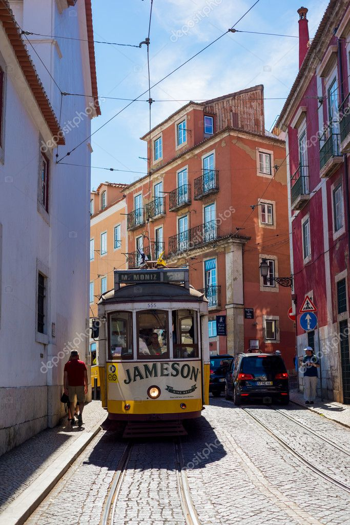 tram number goes by street of Lisbon