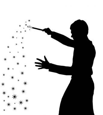 Silhouette of teenage boy wizard creating magic