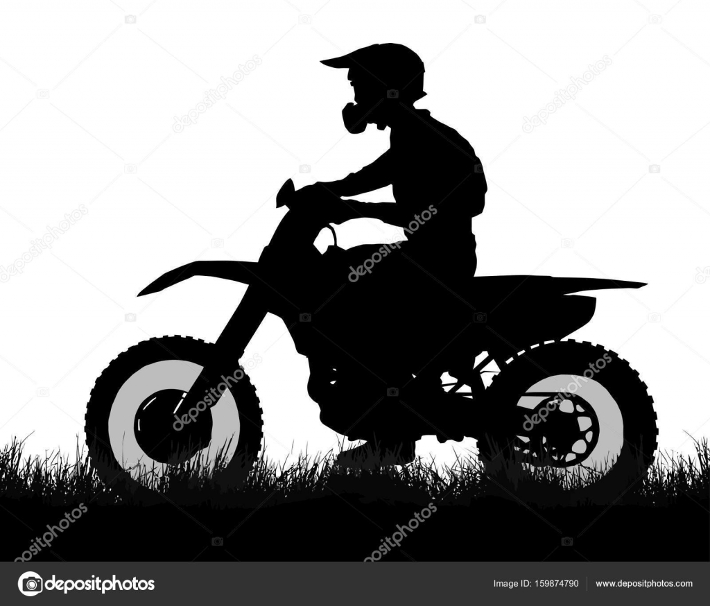 Side Profile Silhouette Of Off Road Biker With Scrambler Stock Vector C Cd123 159874790