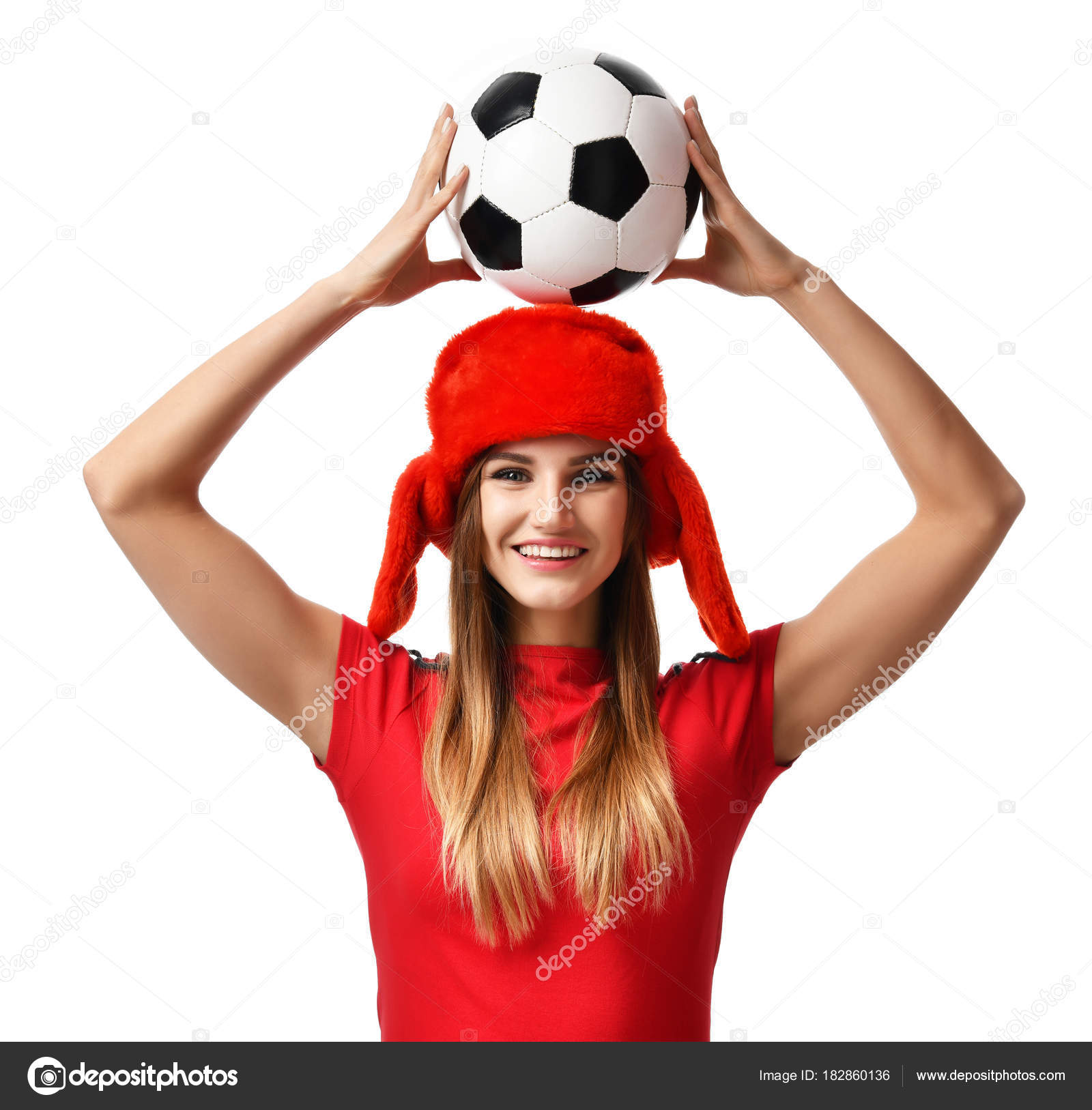 Fan sport woman player in red uniform and russian winter hat