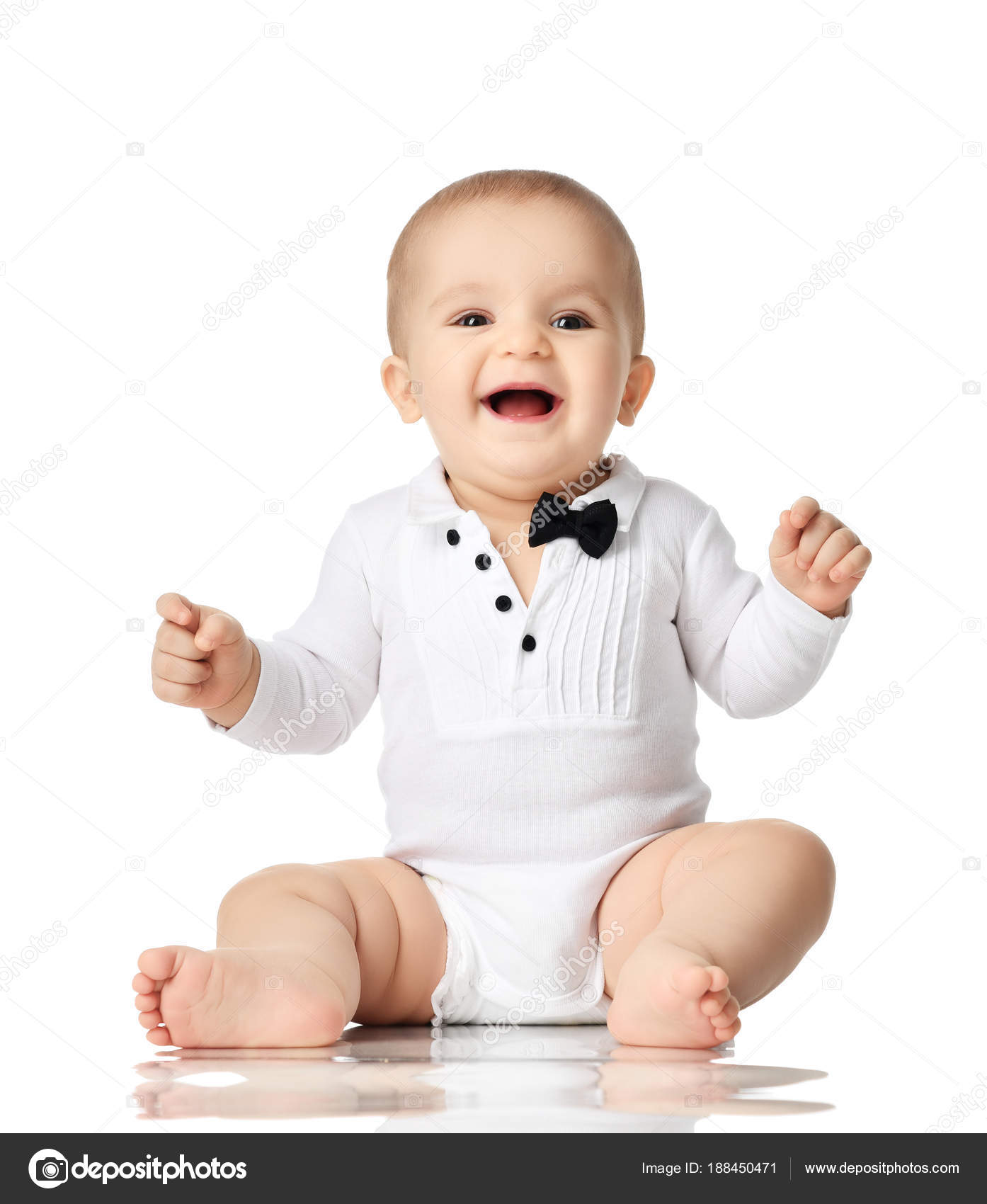68d36c608 8 month infant child baby boy toddler sitting in white shirt and ...