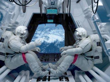 Group astronauts3d render