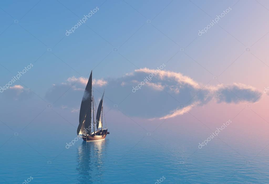 Ship 3d render